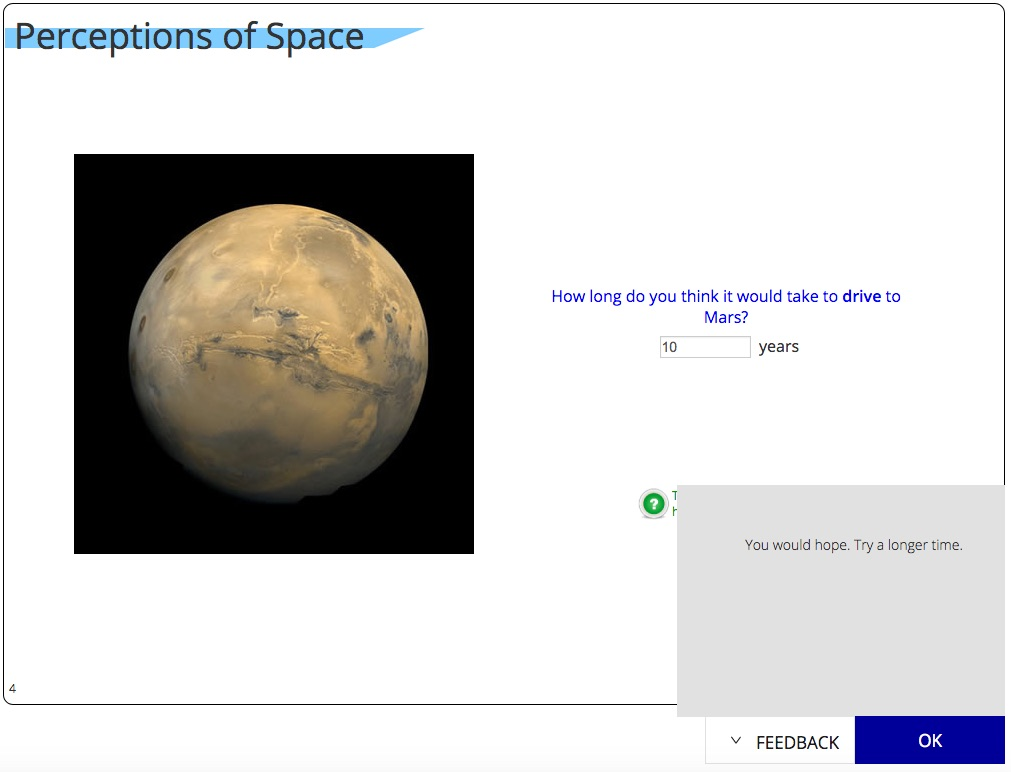 Sample HabWorlds page having students guess the driving time to Mars