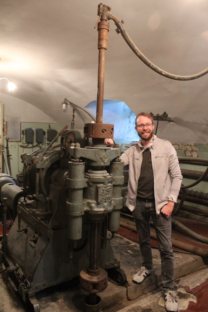 Me with old Soviet drilling equipment, still used to teach