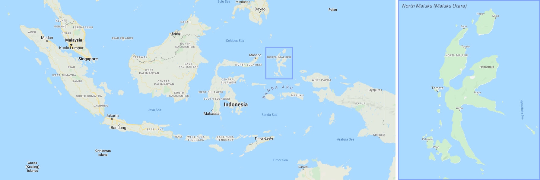 Ternate is located in the northeastern part of the Indonesian archipelago, about midway between the Philippines and Papua