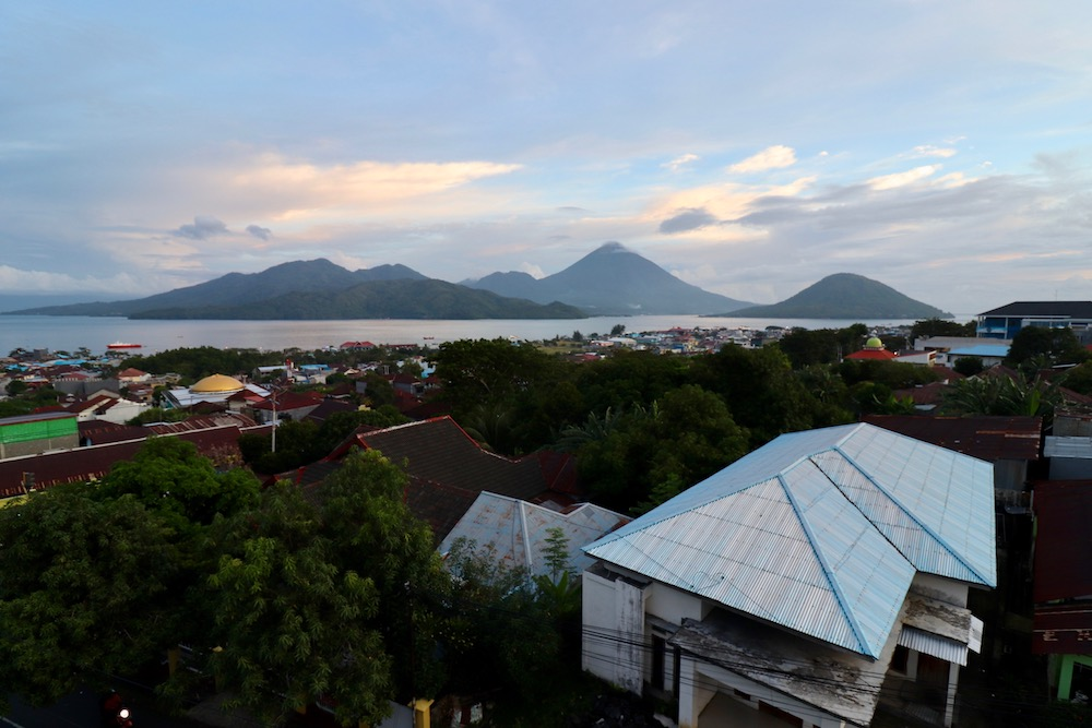 Overview of Ternate with view of Tidore and Maitara islands