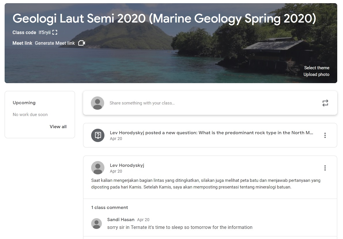 Google Classroom version of the Marine Geology class, with little participation and students confused about timezones