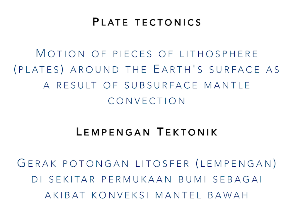 """Slide showing the definition of """"plate tectonics"""" in both English and Indonesian"""