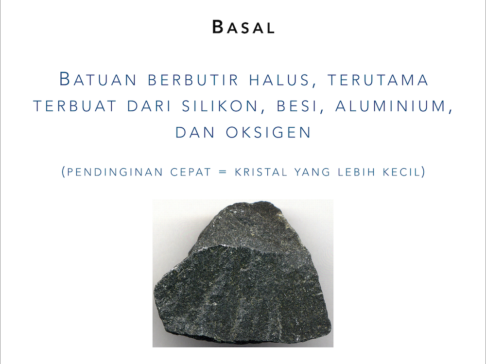 """Slide showing the definition for """"basalt"""" in Indonesian only, as an image takes up the additional space"""